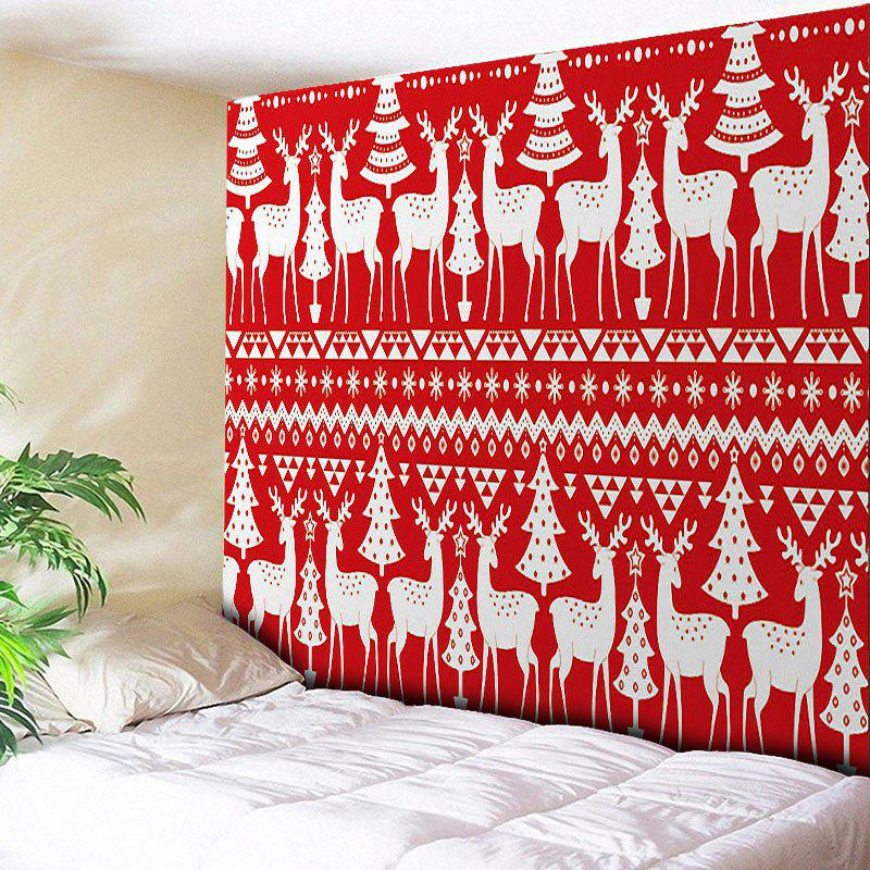 Christmas Tree Reindeer Pattern Wall TapestryHOME<br><br>Size: W79 INCH * L59 INCH; Color: RED; Style: Festival; Theme: Christmas; Material: Cotton,Polyester; Feature: Removable,Washable; Shape/Pattern: Animal,Tree; Weight: 0.3000kg; Package Contents: 1 x Tapestry;