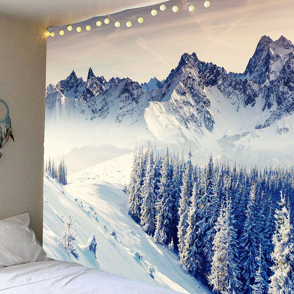 Wall Art Snow Mountains Forest Patterned TapestryHOME<br><br>Size: W79 INCH * L71 INCH; Color: WHITE; Style: Natural; Theme: Landscape; Material: Velvet; Feature: Removable,Waterproof; Shape/Pattern: Forest,Mountain,Snow; Weight: 0.3800kg; Package Contents: 1 x Tapestry;