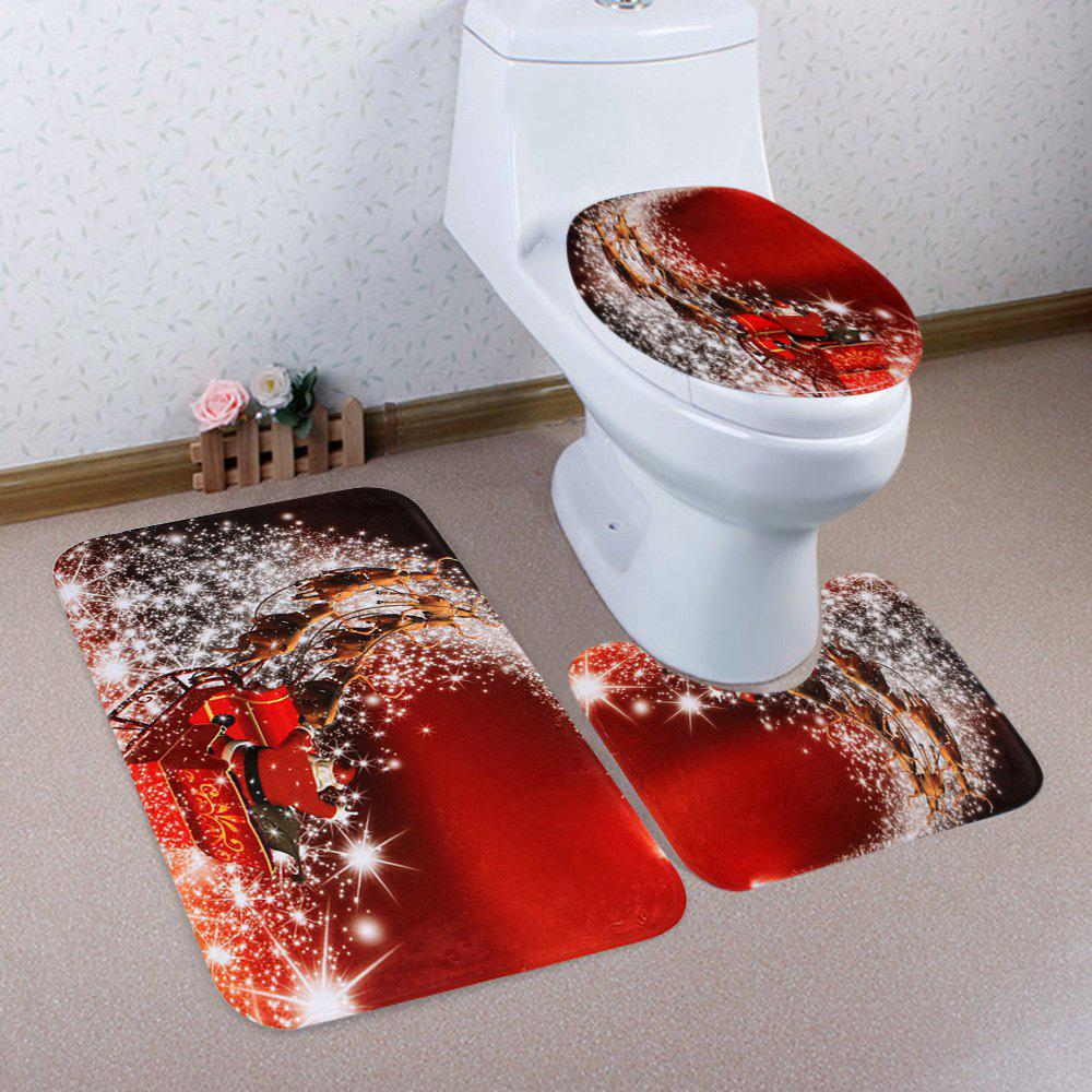 Christmas Santa Sleigh Pattern 3 Pcs Bath Mat Toilet MatHOME<br><br>Color: RED; Products Type: Bath Mats; Materials: Coral FLeece; Pattern: Santa Claus; Style: Festival; Size: Pedestal Rug: 40*50CM, Lid Toilet Cover: 38*43CM, Bath Mat: 50*80CM; Package Contents: 1 x Pedestal Rug 1 x Lid Toilet Cover 1 x Bath Mat;
