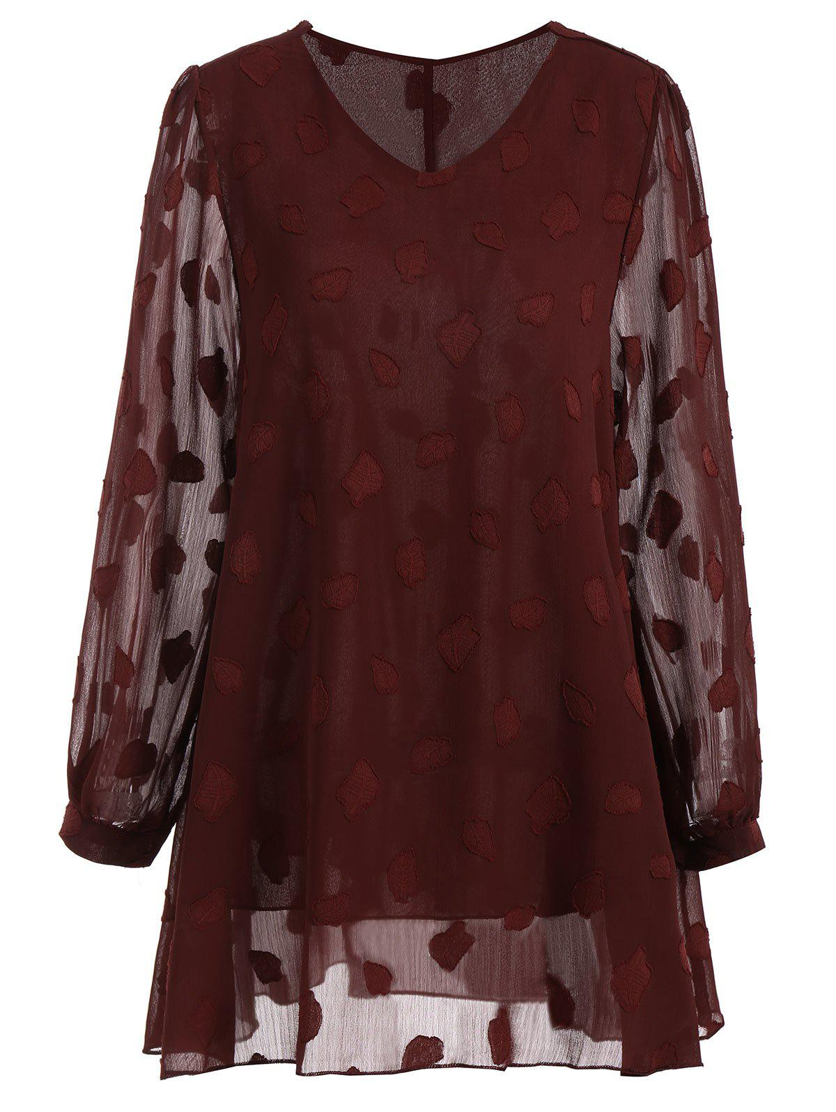 Plus Size Sheer Leaf V Neck BlouseWOMEN<br><br>Size: 5XL; Color: WINE RED; Material: Polyester; Shirt Length: Long; Sleeve Length: Full; Collar: V-Neck; Style: Fashion; Season: Fall; Embellishment: Appliques; Pattern Type: Solid; Weight: 0.2850kg; Package Contents: 1 x Blouse;