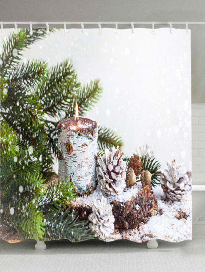 Christmas Tree Snowfield Print Fabric Waterproof Bathroom Shower CurtainHOME<br><br>Size: W71 INCH * L79 INCH; Color: WHITE; Products Type: Shower Curtains; Materials: Polyester; Pattern: Plant; Style: Festival; Number of Hook Holes: W59 inch*L71 inch: 10; W71 inch*L71 inch: 12; W71 inch*L79 inch: 12; Package Contents: 1 x Shower Curtain 1 x Hooks (Set);