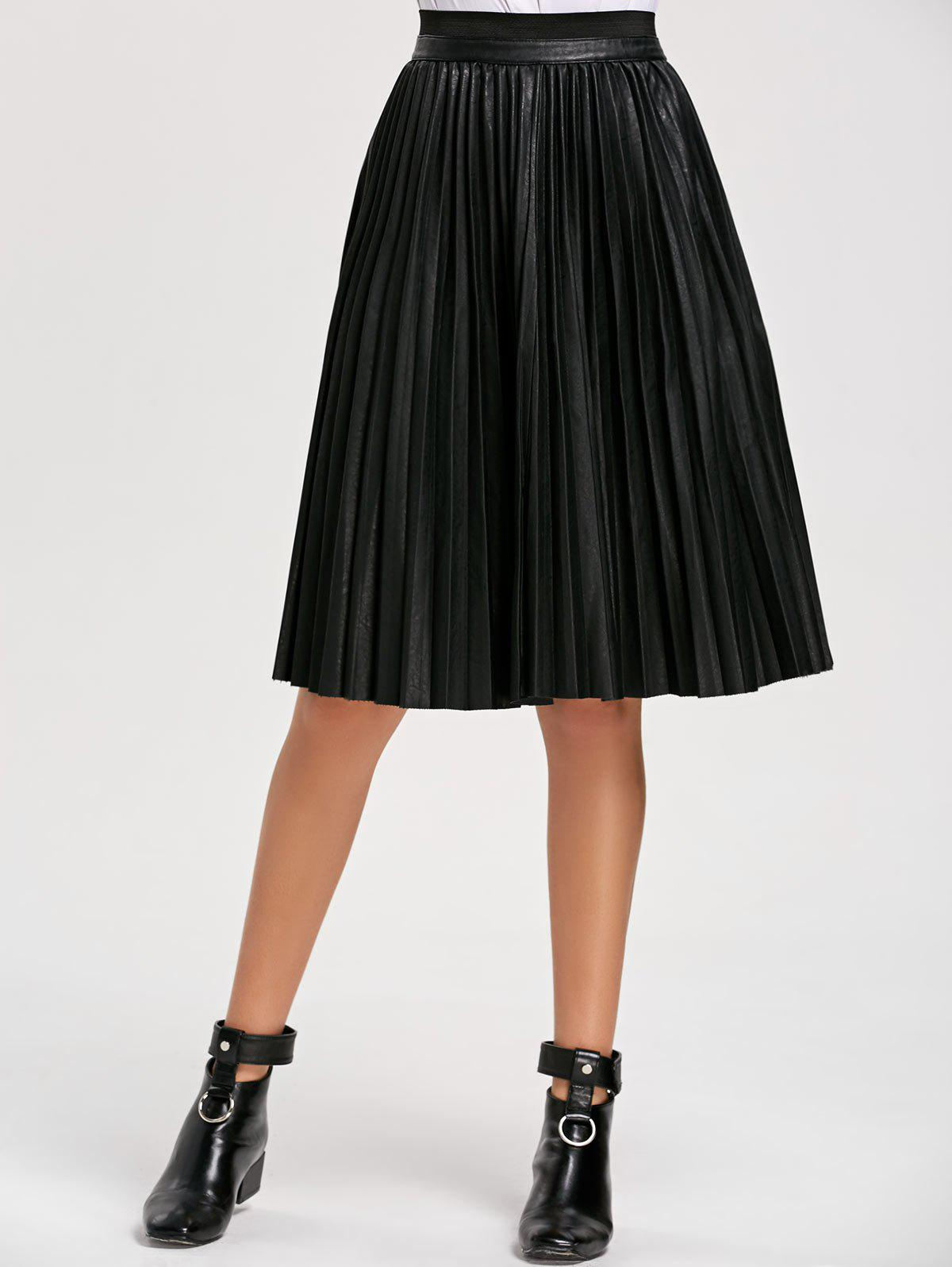 Latest High Waist Pleated Faux Leather Skirt