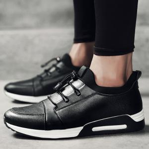Low Top Faux Leather Casual Shoes - BLACK 40