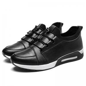 Low Top Faux Leather Casual Shoes - Noir 41