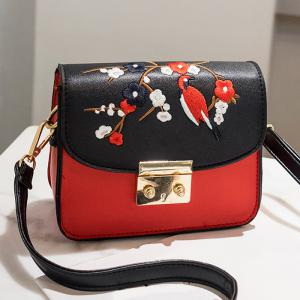 Bird Embroidery Flower Crossbody Bag -