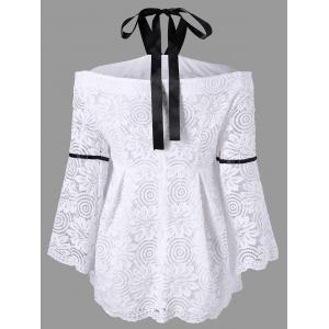 Plus Size Flare Sleeve Lace Halter Neck Blouse -