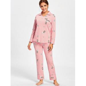 Pineapple Print Sleeved Cotton PJ Set -