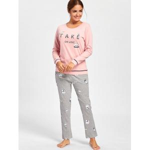 Bears Print PJ Set with Sleeves - ROSE PÂLE XL