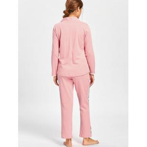 Letter Graphic V Neck Pajamas Set - LIGHT PINK L