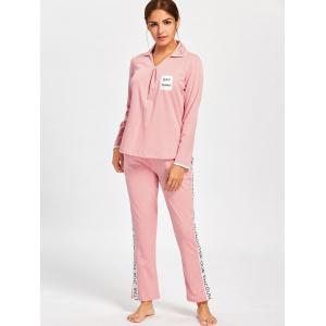 Letter Graphic V Neck Pajamas Set -