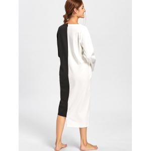Asymmetric Two Tone Oversized PJ Dress - BLACK WHITE L
