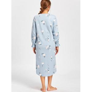 Printed Long Sleeve Tee Pajama Dress -