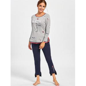 Long Sleeve Printed PJ Set with Slit - GRAY L