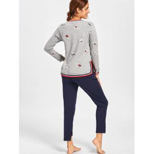 Long Sleeve Printed PJ Set with Slit - GRAY M