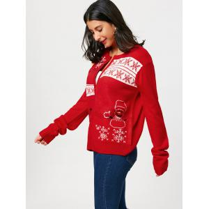 Snowman Snowflake Pattern Zip Up Tricots - Rouge TAILLE MOYENNE
