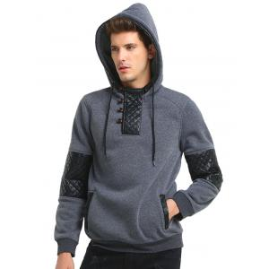PU Leather Panel Fleece Pullover Hoodie - DEEP GRAY 3XL