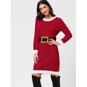 Waist Belt Print Christmas Knit Dress -