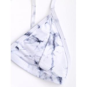 Marble Print Criss Cross Bikini Set - GREY AND WHITE L