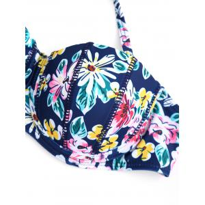 Ensemble de bikini bicolore push-up floral - Multicolore M