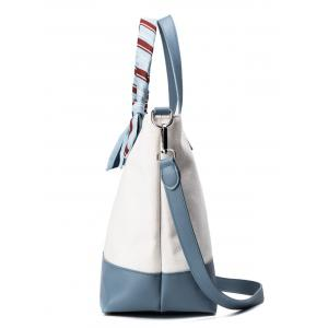 Faux Leather Color Block Ribbon Handbag - BLUE AND WHITE
