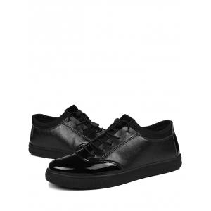 Tie Up Bright Color Low Top Casual Shoes - BLACK 42