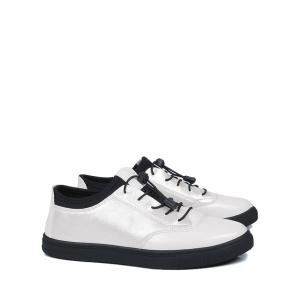 Tie Up Bright Color Low Top Casual Shoes - WHITE 42