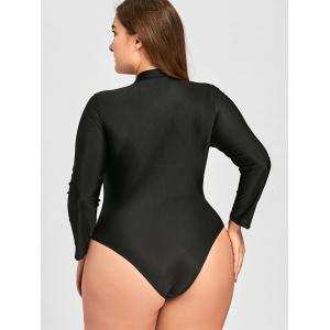 Plus Size Embroidered Sport Swimsuit - BLACK 4XL