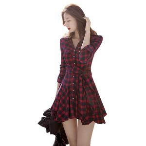 Checked Lace-Up Long Sleeve Dress - RED M