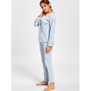 V Neck Striped Sleepwear Set - CLOUDY M