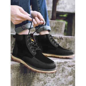 Ankle Color Block Moc Toe Boots - BLACK 40