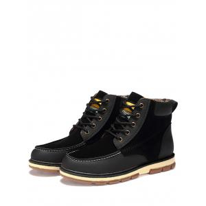 Ankle Color Block Moc Toe Boots - BLACK 43