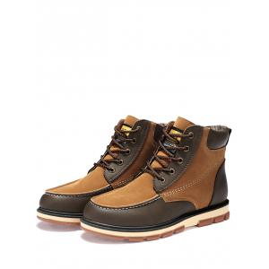 Ankle Color Block Moc Toe Boots - BROWN 41