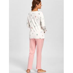 Side Slit Printed Pajamas Set - WHITE XL