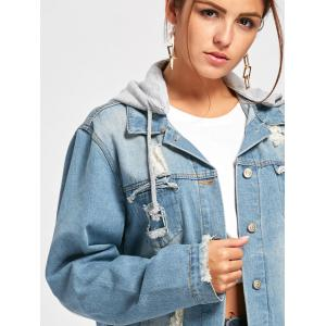 Wing Embroidery Distressed Denim Hooded Jacket - DENIM BLUE L
