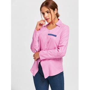 Turndown Collar Asymmetrical Shirt - PINK M