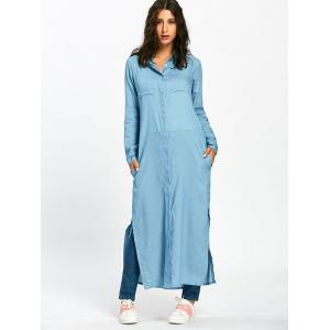 Side Slit Longline Maxi Shirt with Pockets - LIGHT BLUE XL
