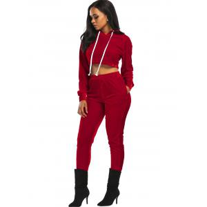 Velvet Cropped Drawsring Hoodie and Pants Suit - RED M