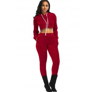 Velvet Cropped Drawsring Hoodie and Pants Suit - RED XL
