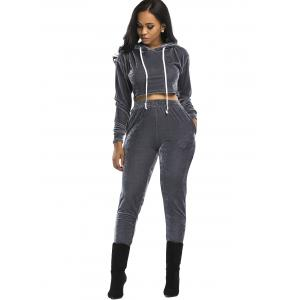 Velvet Cropped Drawsring Hoodie and Pants Suit - GRAY XL