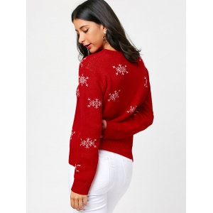Christmas Tree and Snowflake Pattern Pullover Sweater -