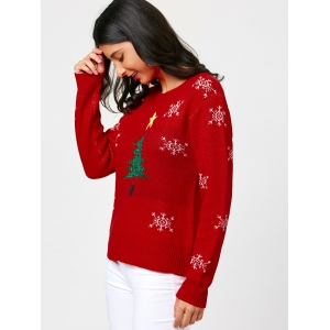 Christmas Tree and Snowflake Pattern Pullover Sweater - RED ONE SIZE
