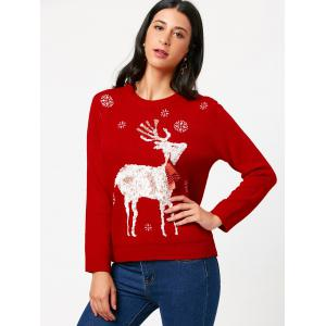 Elk Tied A Bow Tie Christmas Sweater - RED ONE SIZE