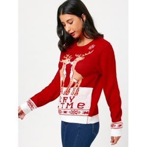 Little Fawn Kiss Pattern Christmas Pullover Sweater - RED ONE SIZE