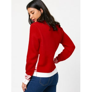 Petite faon Kiss Pattern Pullover Sweater - Rouge TAILLE MOYENNE
