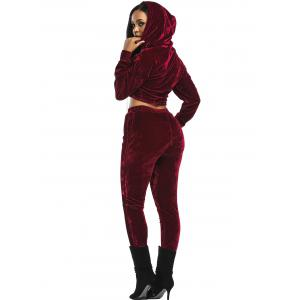 Velvet Cropped Drawsring Hoodie and Pants Suit - WINE RED XL