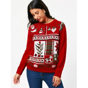 Christmas Ornamentation Pattern Pullover Sweater - RED ONE SIZE