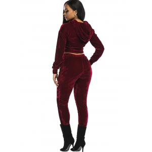 Velvet Cropped Drawsring Hoodie and Pants Suit - WINE RED M