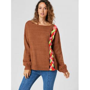 Cable Knit Drop Shoulder Sweater - LIGHT BROWN S