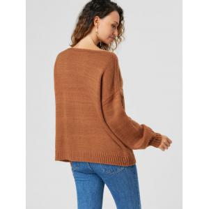 Cable Knit Drop Shoulder Sweater - LIGHT BROWN M