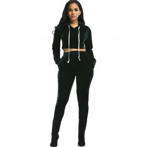 Velvet Cropped Drawsring Hoodie and Pants Suit - BLACKISH GREEN S